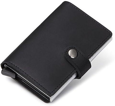 Dlife Credit Card Holder RFID Blocking Wallet Slim Wallet PU Leather Vintage Aluminum Business Card Holder Automatic Pop-up Card Case Wallet Security Travel Wallet (Black)