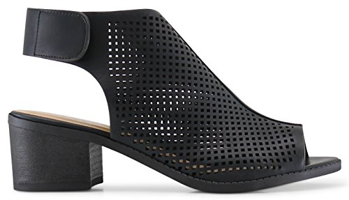 Marco Republic Tuscany Girls Kids Childrens Peep Toe Slingback Laser-Cut Chunky Block Heels Sandals - (Black) - Big Kid 4 by MARCOREPUBLIC (Image #7)