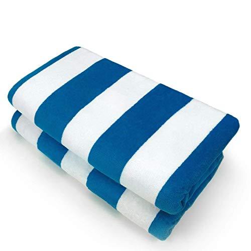 Kaufman - 32in x 62in Velour - Joey Cabana Stripe Towel Set (2, Blue) (Velour Stripe Towel)