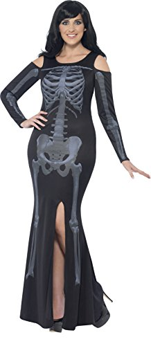 Sexy Skeleton Halloween Costumes (Smiffy's Women's Skeleton Costume, Dress, Legends of Evil, Halloween, Plus Size 18-20, 44336)
