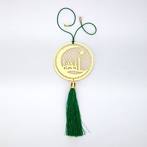 Price comparison product image ADORAA Islamic Muslim Crescent Rear View Mirror Car Hanging Ornament / Perfect Car Charm Pendant / Amulet - Accessories for Car Décor in Brass for Divine Blessings & Safety / Protection