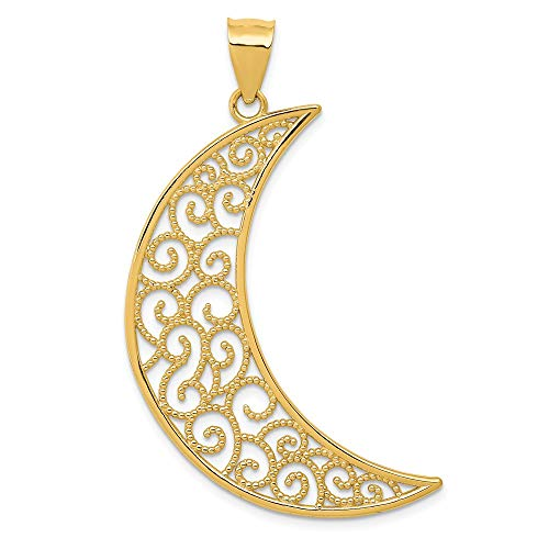 Solid 14k Yellow Gold Filigree Moon Pendant (43mm Height x 30mm Width)