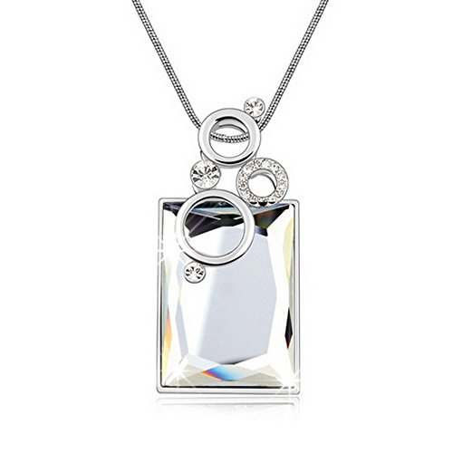 Alvdis Premium Rectangle Shaped Coffee Crystal Pendant Long Chain Necklace - Elegant & Classy Design ()