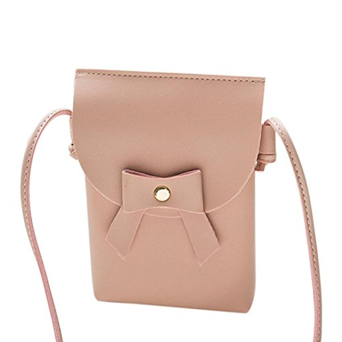 Bags,AIMTOPPY Women's Handbag Cover Buckle Bow shoulder bag Purse Messenger bag (Pink, FREE)