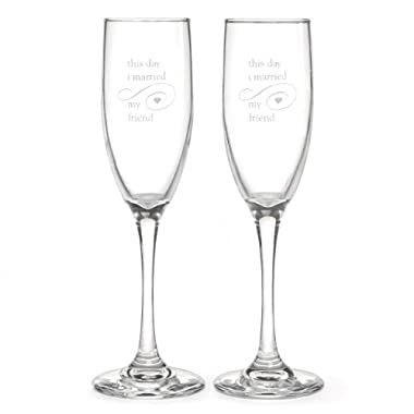 Hortense B. Hewitt Wedding Accessories This Day I Married My Friend Champagne Flutes, Set of 2