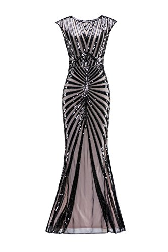 Metme Women's 1920s Vintage Fringed Sequin Long Flapper Gatsby Dress for Party , Champagne , X-Small]()