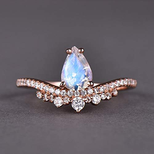 Natural Moonstone Engagement Ring CZ Diamond Solid 14k Rose Gold Pear Shaped Unique Antique Moonstone Wedding Rings Bridal Set Jewelry Women Anniversary Gift for Her White Yellow