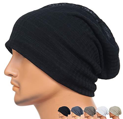 Black Basic Knit Beanie - Rayna Fashion Men Women Summer Thin Slouchy Long Beanie Hat Cool Baggy Skull Cap Stretchy Knit Hat Lightweight Black
