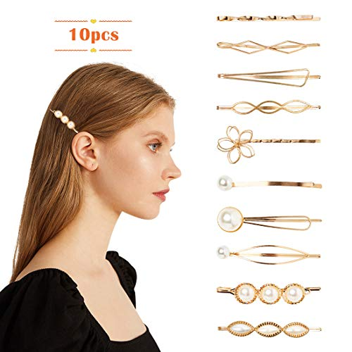 Fancy Bobby Pins for Women Pearl Hair Styling Clips Small Gold Hair Barrettes for Baby Girl