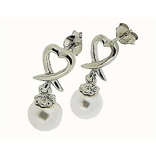 Boucles d'Oreilles en Goutte Perle Synthétique Cœur Ouvert Blanc Argent Par La Collection Olivia - CL3865