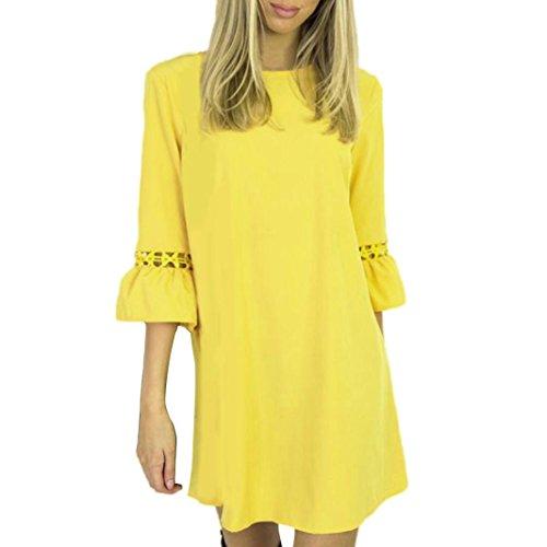 52c89b0a020c3 BAO8 ドレス 無地ワンピース 7分袖ドレス ひざ丈スカート ミニスカート 可愛い 素敵 春
