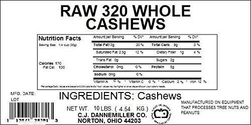 Cashews - 10 Lbs. Raw 320 ct. Whole Cashews by C. J. Dannemiller Co. (Image #1)