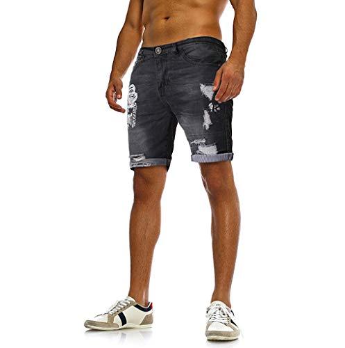☎☎Ratoop☎☎Summer Fashion Men's Hole Stretch Casual Print Slim Denim Shorts Pants