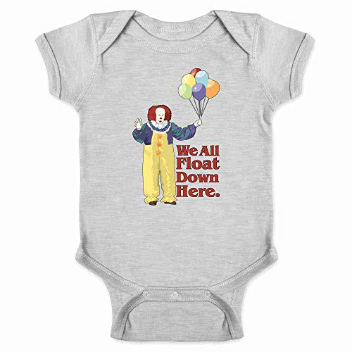 Pop Threads Clown Float Down Here Minimalist Gray 6M Infant Bodysuit ()