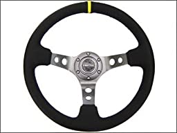 NRG Steering Wheel - 06 (Deep Dish) - 350mm (13.78 inches) - Black Suede with Black Spokes / Yellow Stripe - Part # ST-006S-Y