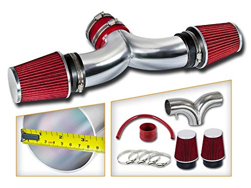 Rtunes Racing Short Ram Air Intake Kit + Filter Combo RED For 05-10 Jeep Grand Cherokee V8 / 06-10 Jeep Commander V8 / 06-10 Grand Cherokee 6.1L SRT8 V8 with DUAL filters