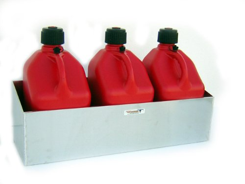 Pit Posse 436 Triple Fuel Jug Rack Holder 3 Mount Aluminum Enclosed Race Trailer Shop Garage Storage ()