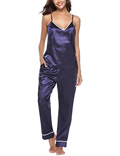 (Tongzone Women's Satin Pajama Pants & top Set/2 Piece PJ Matching Top and Long Pants)