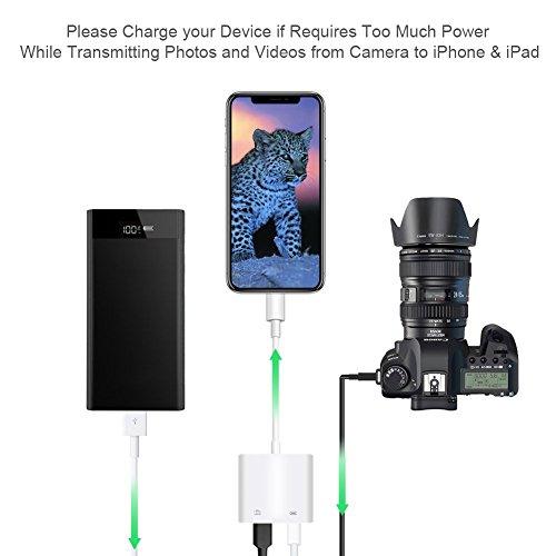 Lightning to USB Camera Adapter, Lightning to USB 3 Female Adapter Cable With USB Power Interface Data Sync Charge Cable For iPhone iPad,No App Required by Aiguozer (Image #3)