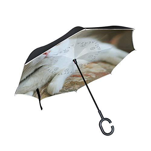Ladninag Reverse Umbrella Pets World Cat Inverted Umbrella Reversible for Golf Car Travel Rain Outdoor -