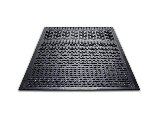 Guardian Triple-Flex Scrape Anti-Bacterial Floor Mat, Rubber, 3'x10', Black