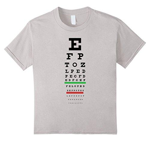 Kids Snellen Eye Chart T-Shirt - Oftalmology - Vision Test 10 Silver