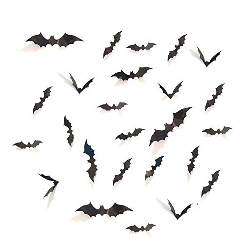 Kaptin 60 Pcs Scary Black Bats Decal, Halloween Party Supplies Decorations Window Door Decor Scary Bats 3D Wall Decals -