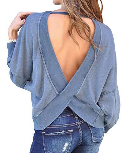BTFBM Women's Backless Loose Shirt Long Sleeve Open Back Cross Tee Top Blouse (Small, Blue)
