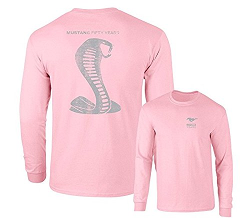 Mustang 50 Years Ford 50 Shelby Gray Snake Long Sleeve TEE F & B, Pink, M
