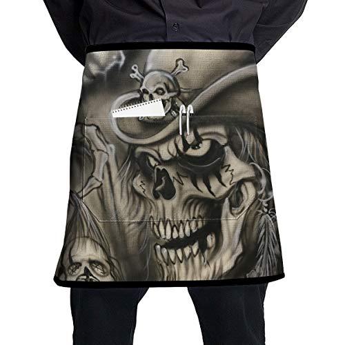 Lao Yang Mai Halloween Voodoo Skull Pirate BBQ Waiter Housekeeper Pet Grooming Bartender Kitchen Beautician Hairstylist Nail Salon Carpenter Shoeing Wood Painting Artist Pocket Half Apron -