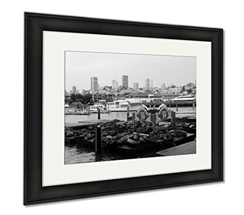 Ashley Framed Prints San Francisco Pier 39 View Of Buildings And Sea Lions USA, Modern Room Accent Piece, Black/White, 34x40 (frame size), Black Frame, - San Pier 39 Shops Francisco