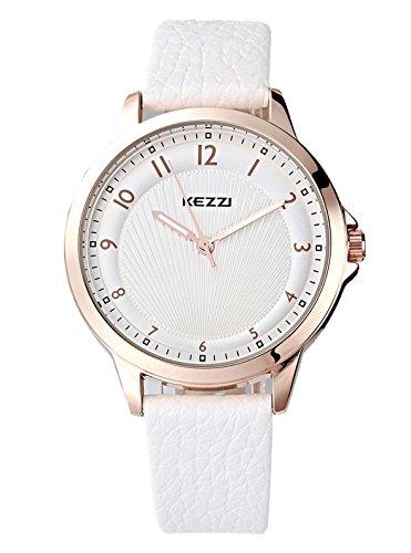 Kezzi Uhren Damen Quarz Analoge Weis Leder Armbanduhr K1164