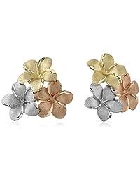 14k Gold Tri-Color Hawaiian Flower Stud Earrings