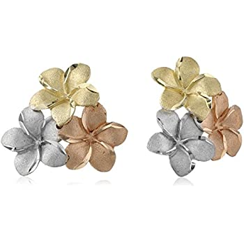 14k Gold Tri-Color Hawaiian Flower Stud Earrings