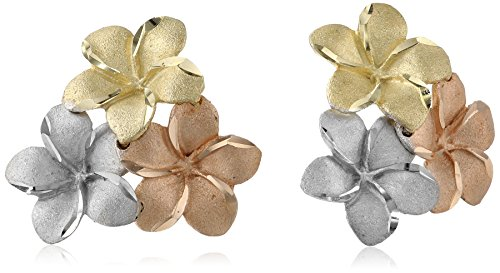 14k Gold Tri-Color Hawaiian Flower Stud Earrings Gold Hawaiian Flower