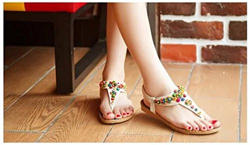 SPEEDEVE Women's Clip Toe Flat Sandals Ladies Beaded Elastic T-Strap Ankle Shoes Girls Summer Beach Casual Shoes Yellow KMi2J