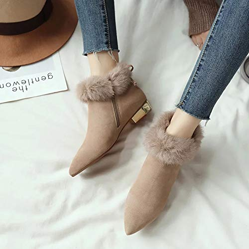 Amazon.com: Lessonmart Pointed Toe Women Boots Chunky Heels Shoes Woman Suede Plush 2018 Winter Snow Ankle Boots for Women Botas Black Botines Mujer: ...
