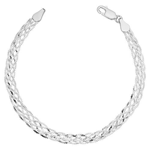 (Kooljewelry Sterling Silver Diamond-cut Braided Serpentine Bracelet (5.1 mm, 7.5 inch))