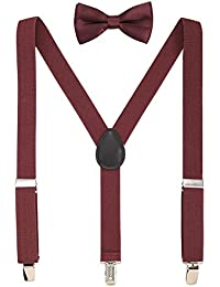 Kids Suspenders Sets Adjustable Suspender With Bow Ties Gift Idea For Boys And Girls (Wine-Red)