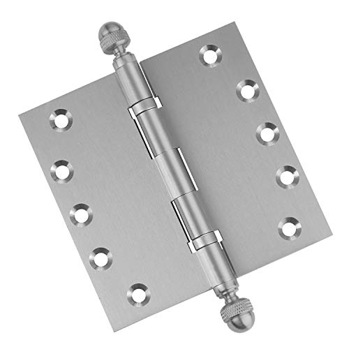 3 PK - Door Hinges 5 x 5 Extruded Solid Brass Ball Bearing Satin Nickel Architectural Grade Acorn Tips Included ()