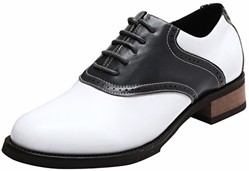U-lite Women's Classic Retro Saddle Shoes,Lady's Round-Toe Leather Sadie Oxford