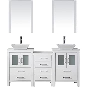 Virtu usa kd 70066 s wh modern 66 inch double sink - 66 inch bathroom vanity double sink ...