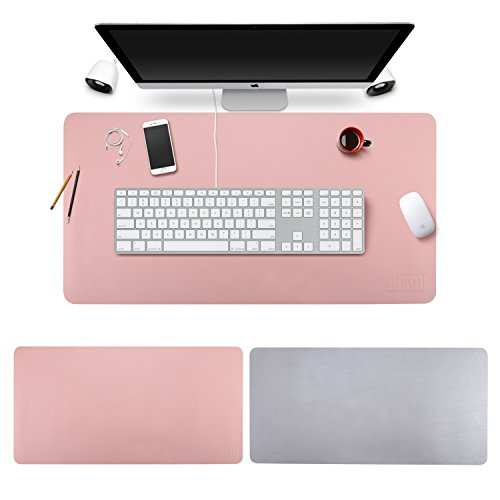 Desk Pad Mouse Pad/Mat - BUBM Large Gaming Mouse Pad Desktop Pad Protector PU Leather Laptop pad for Office and Home,Waterproof and Smooth,2 Year Warranty(35.4'' 17.7'', Pink+Silver) by BUBM