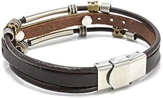 Vintage Men Metal Steel Studded Surfer Leather Bangle Cuff Fashion Bracelets Fav