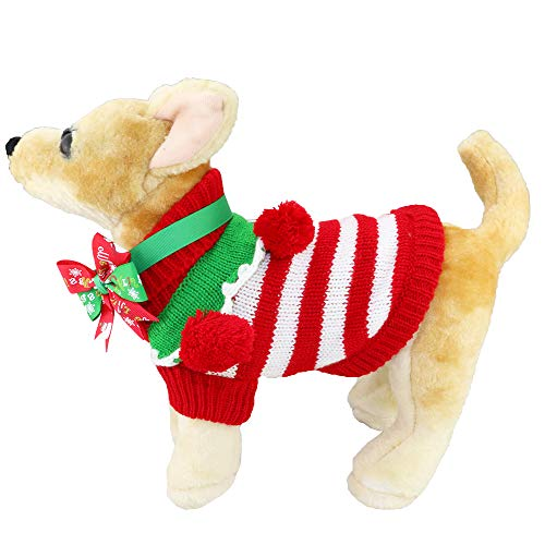 Aiwind Adorable Cute Striped Festive Holiday Christmas Pet Dog Cat Sweater with Balls Collar and Adjustable Bow Tie Collar or Headband (S, Red and White Stripes)
