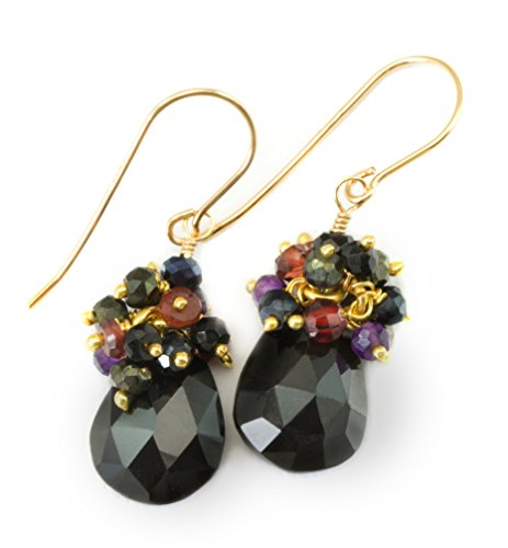 Gold Spinel Earrings - 14k Gold Filled Black Spinel Cluster Earrings Red Garnet, Spinel, Purple Amethyst Goldtone Accents