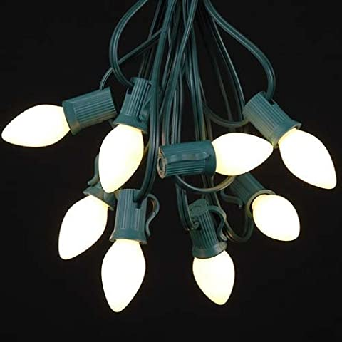 Novelty Lights C7 White Ceramic Christmas Lights Set - Indoor/Outdoor Christmas Light String - Christmas Tree Lights – Opaque Christmas Bulbs – Outdoor String Lights - Green Wire - 25 Foot