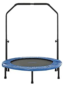 Upper Bounce Mini Foldable Rebounder Fitness Trampoline with Adjustable Handrail,40 inch
