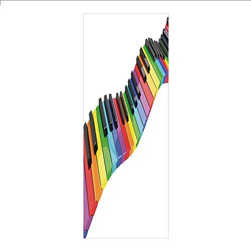 3D Decorative Film Privacy Window Film No Glue,Music,Vibrant Colored Piano Keyboard Wave Musician Arts Entertainment Harmony Instrument,Multicolor,for - Avalon Piano