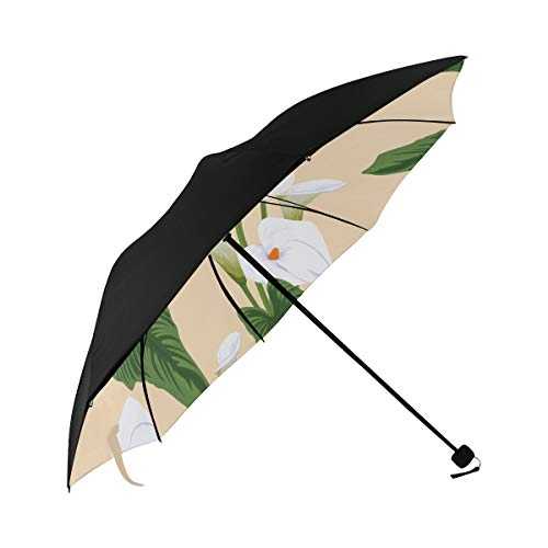 Calla White Floral Hand Drawn Romatic Compact Travel Umbrella Sun Parasol Anti Uv Foldable Umbrellas(underside Printing) As Best Present For Women Sun Uv Protection (Blossom White Calla)
